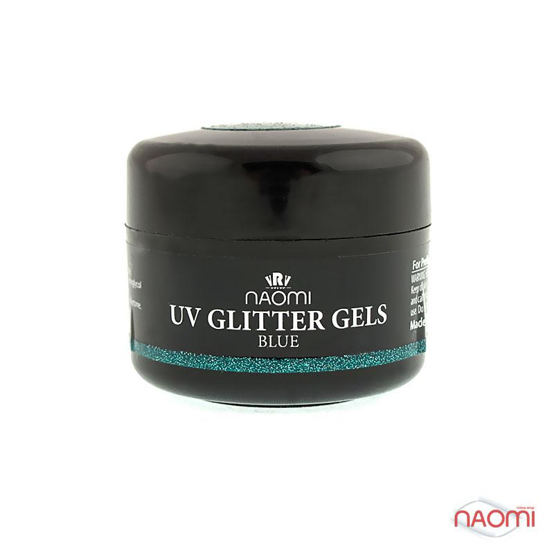 Гель Naomi UV Glitter Gel Blue, 14гр бирюзовый фото, цена