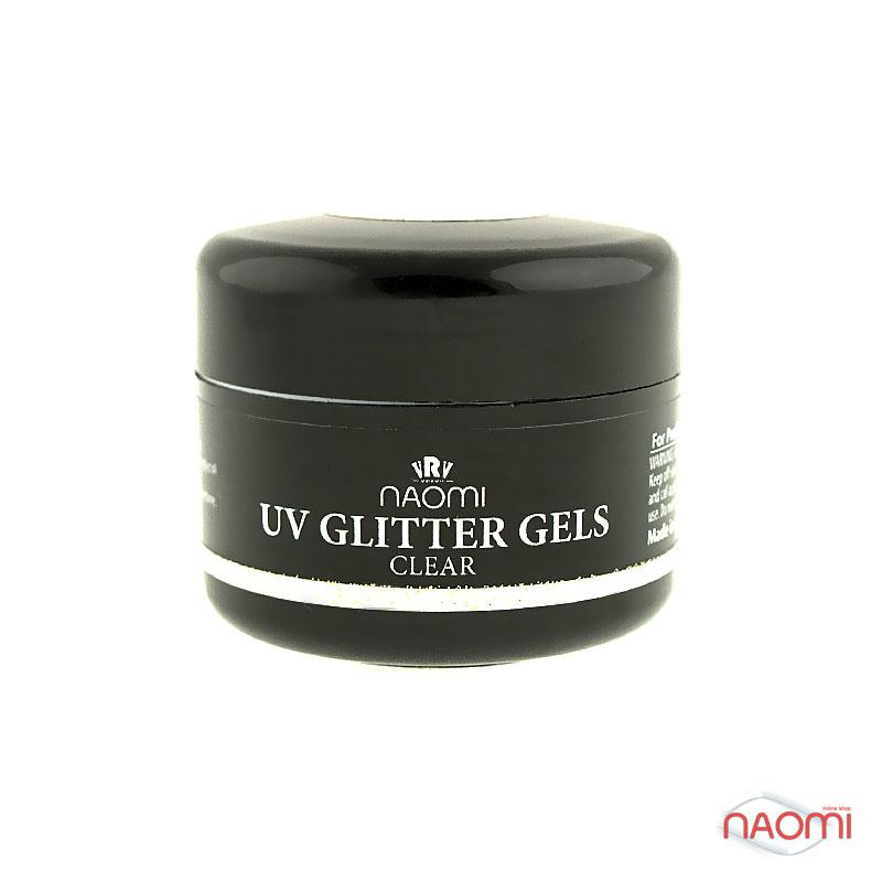 Гель Naomi UV Glitter Gel Clear, 14гр фото, цена