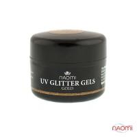 Гель Naomi UV Glitter Gel Gold, 14гр