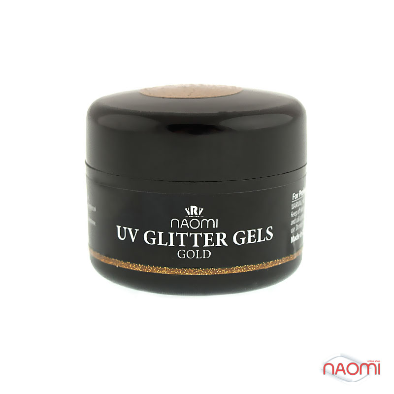 Гель Naomi UV Glitter Gel Gold, 14гр фото, цена