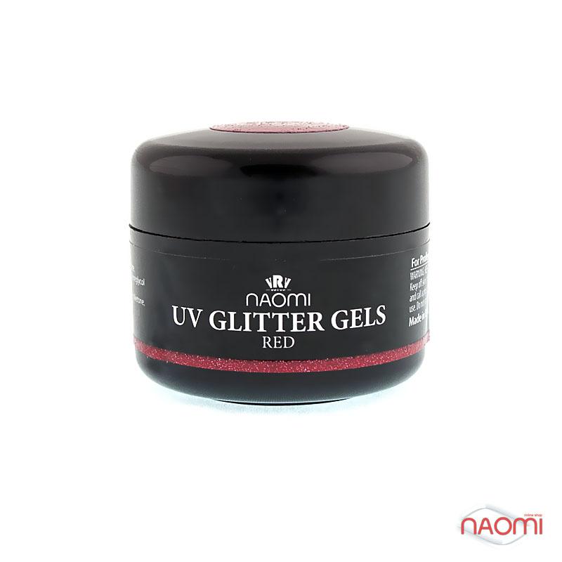 Гель Naomi UV Glitter Gel Red, 14гр фото, цена